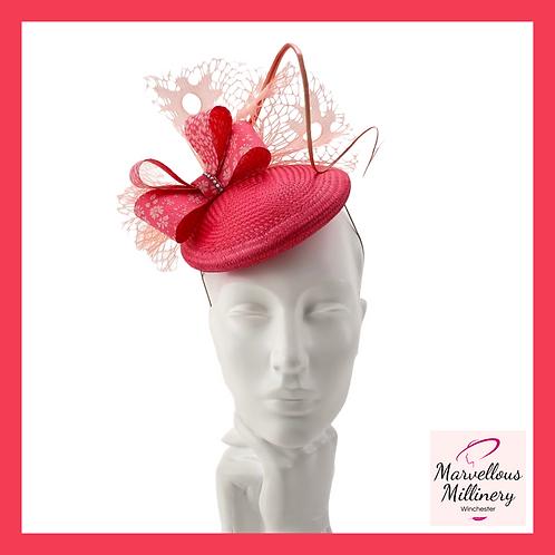 Flamingo Coral Pink Pillbox Cocktail Hat