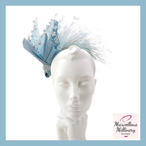 Sky Blue Halo Feathered Headband