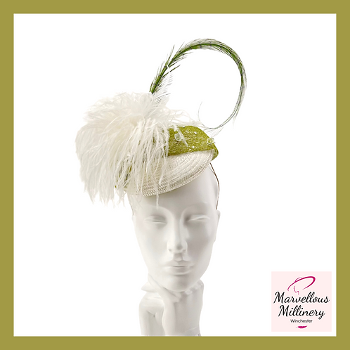 Soft White and Moss Green Cocktail Hat