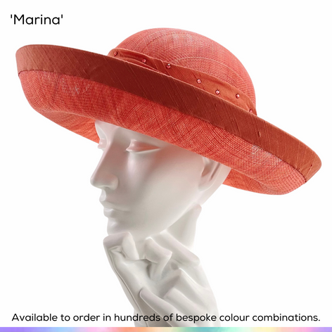 Marina.  A classic Bretton style ladies occasionwear hat, featuring a deep bind and hatband in slubbed silk, set with a scattering of crystals.  Available to order in thousands of colour combinations to match your outfit perfectly.  Handmade by Marvellous Millinery, Winchester, Hampshire UK.  Bespoke ladies wedding hats for Mother of the Bride, Mother of the Groom, Top Table Wedding Guests, Ladies Day at Royal Ascot, Glorious Goodwood, Garden Parties at Buckingham Palace and Royal Investitures.