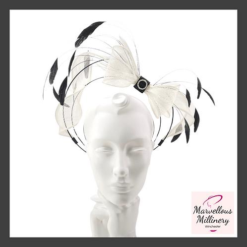 Black and White 'Floating Bow' Halo Headband