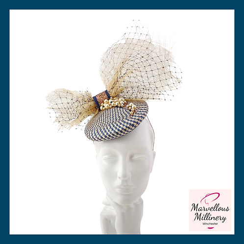 Natural and Navy Pillbox Cocktail Hat