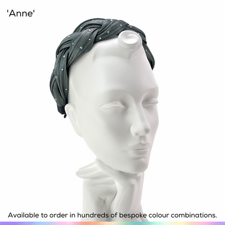 Anne.  A discreet halo headband made from plaited  lightwight Silk Abaca and adorned with a scattering of crystals.  Available to order in thousands of colour combinations to match your outfit perfectly.  Handmade by Marvellous Millinery, Winchester, Hampshire UK.  Bespoke ladies wedding hats for Mother of the Bride, Mother of the Groom, Top Table Wedding Guests, Ladies Day at Royal Ascot, Glorious Goodwood, Garden Parties at Buckingham Palace and Royal Investitures.