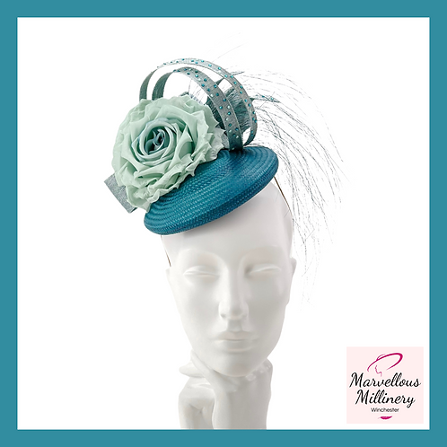 Teal and Ocean Green Perching Pillbox Hat