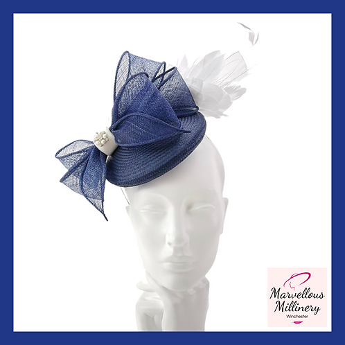 Navy and White Cocktail Hat