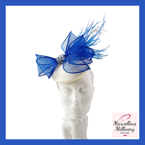 Royal Blue and Ivory Cocktail Hat