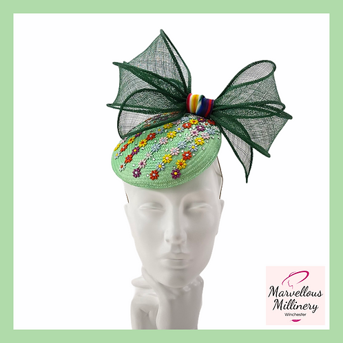 Green and Colourful Daisies Pillbox Cocktail Hat