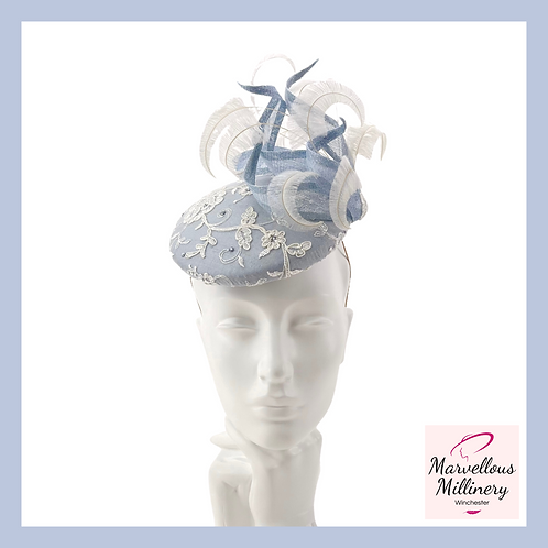 Pretty Sky Blue and Ivory Lace Cocktail Hat