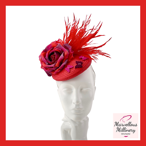 Red, Plum and Fuchsia Pillbox Cocktail Hat