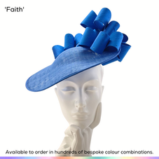 Faith.  A modern style perching saucer headpiece, featuring a cluster of sculpted silk bows which sit infront and behind a dramatically flipped-up brim.  Available to order in thousands of colour combinations to match your outfit perfectly.  Handmade by Marvellous Millinery, Winchester, Hampshire UK.  Bespoke ladies wedding hats for Mother of the Bride, Mother of the Groom, Top Table Wedding Guests, Ladies Day at Royal Ascot, Glorious Goodwood, Garden Parties at Buckingham Palace and Royal Investitures.