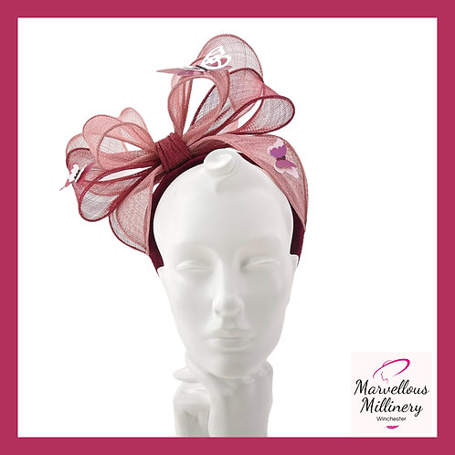 Burgundy and Pink Double Bow with Butterflies Headband