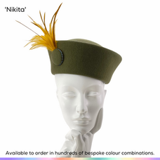 Nikita.  A Cossack style hat in wool felt featuing a feather mount and simple covered button set with crystals.  Available to order in thousands of colour combinations to match your outfit perfectly.  Handmade by Marvellous Millinery, Winchester, Hampshire UK.  Bespoke ladies wedding hats for Mother of the Bride, Mother of the Groom, Top Table Wedding Guests, Ladies Day at Royal Ascot, Glorious Goodwood, Garden Parties at Buckingham Palace and Royal Investitures.