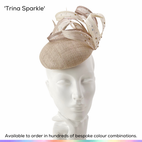 Trina Sparkle.  A petite button shaped pillbox hat featuring a flurry of handmade twsted spirals and highlighted with a multitude of different crystals and pearls to accent the different colours in the hat.  Available to order in thousands of colour combinations to match your outfit perfectly.  Handmade by Marvellous Millinery, Winchester, Hampshire UK.  Bespoke ladies wedding hats for Mother of the Bride, Mother of the Groom, Top Table Wedding Guests, Ladies Day at Royal Ascot, Glorious Goodwood, Garden Parties at Buckingham Palace and Royal Investitures.