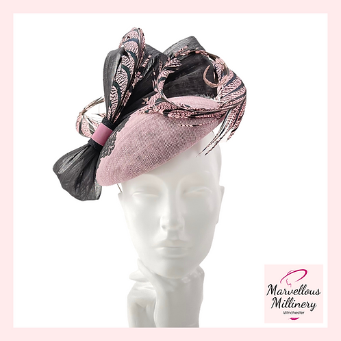 Dusky Rose Pink with Black Feathered Pillbox Hat