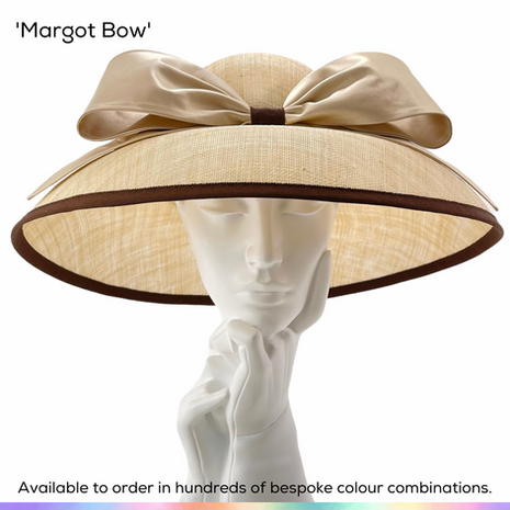 Margot Bow.  A classic deep 'double dome' ladies picture hat, featuing a simple silk satin bow.  Available to order in thousands of colour combinations to match your outfit perfectly.  Handmade by Marvellous Millinery, Winchester, Hampshire UK.  Bespoke ladies wedding hats for Mother of the Bride, Mother of the Groom, Top Table Wedding Guests, Ladies Day at Royal Ascot, Glorious Goodwood, Garden Parties at Buckingham Palace and Royal Investitures.