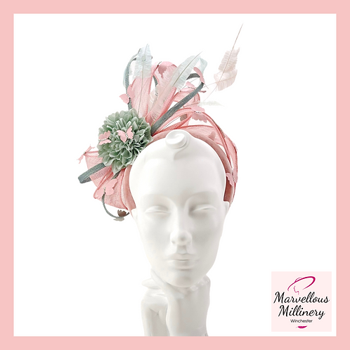 Rose Pink and Soft Green Halo Butterfly Headband