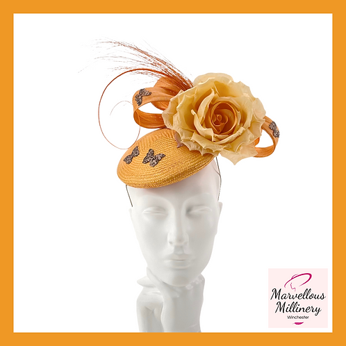 Burnt Orange and Tangerine Pillbox Cocktail Hat