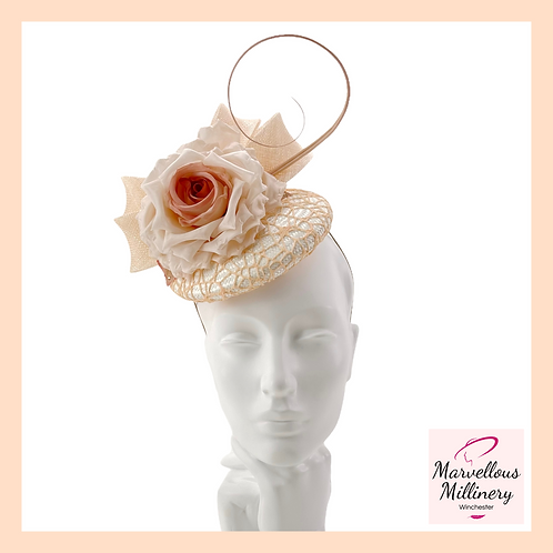 Peach and Apricot with Ivory Cocktail Hat