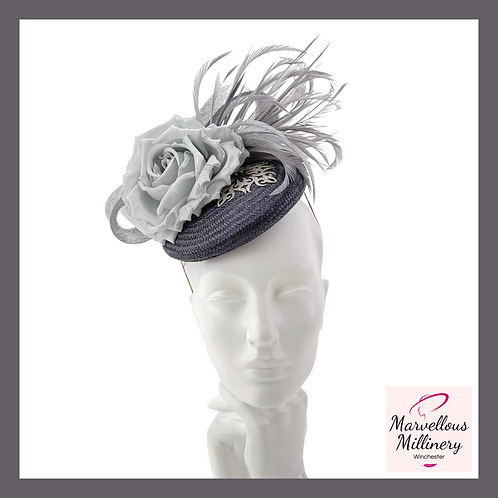 Charcoal and Silver Grey Pillbox Cocktail Hat