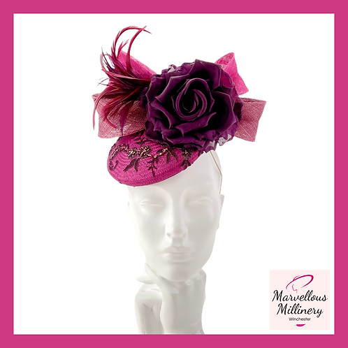 Mixed Berry Colours Perching Pillbox Hat
