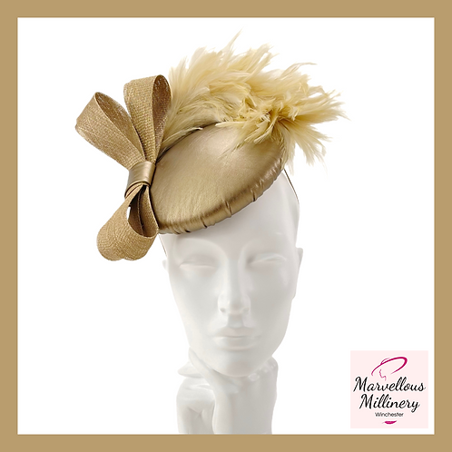 Bronze Gold Leatherette Perching Pillbox Hat