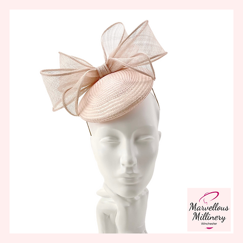 Delicate Ice-Pink Perching Pillbox Hat