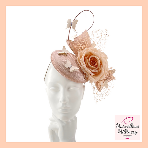 Delicate Rose Gold Butterfly Pillbox Cocktail Hat