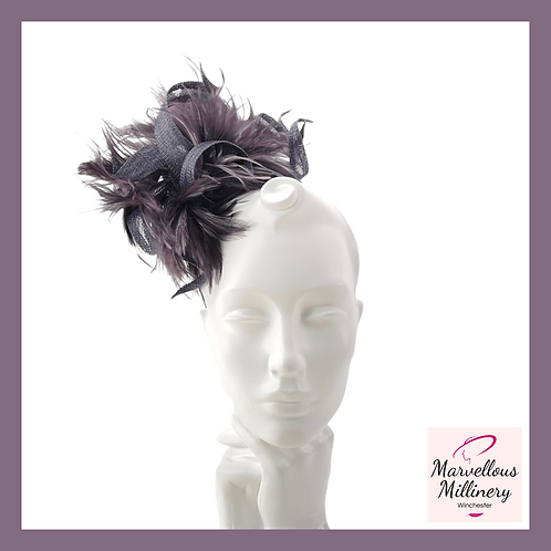 Slate and Charcoal Feathered Headband