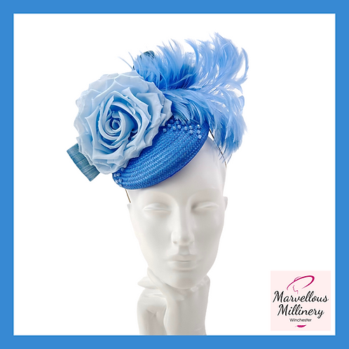 Pretty Blue Feathered Cocktail Hat