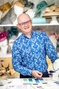 Simon Meanwell-Ralph owner and Milliner and Hat Designer for Marvellous Millinery Winchester Hampshire United Kingdom. Unique Bespoke Ladies Wedding  Hats, Mother of the Bride Hats, Mother of the Groom Hats, Ladies Investiture Hats and Royal Ascot Hats. Available to order in Hundreds of Styles, and Thousands of Colour Combinations.  Find your perfect wedding hat to match your dress and outfit.  Freshwater pearl jewellery, clutch  handbags and silk stoles also available to match.