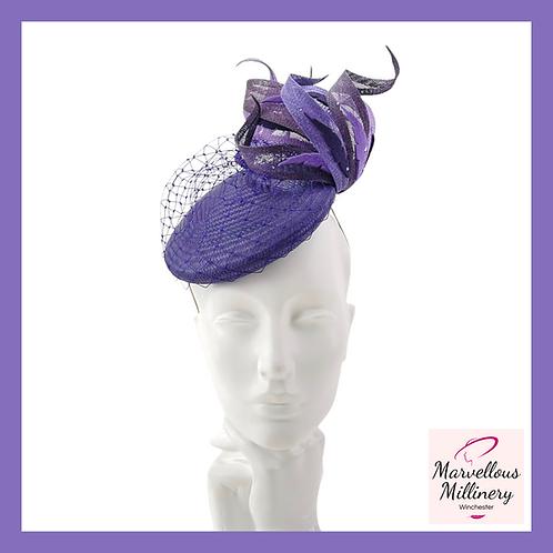 Purple and Aubergine Perching Pillbox Hat