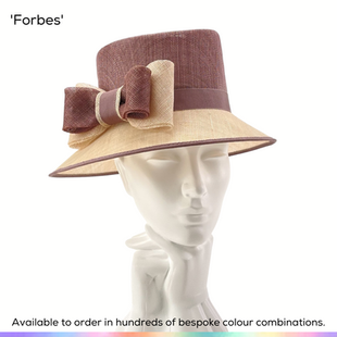 Forbes.  A shallow-brimmed Picture style ladies occasionwear hat, featuring a steep crown, tight brim and trimmed with a handmade simple double bow.  Available to order in thousands of colour combinations to match your outfit perfectly.  Handmade by Marvellous Millinery, Winchester, Hampshire UK.  Bespoke ladies wedding hats for Mother of the Bride, Mother of the Groom, Top Table Wedding Guests, Ladies Day at Royal Ascot, Glorious Goodwood, Garden Parties at Buckingham Palace and Royal Investitures.