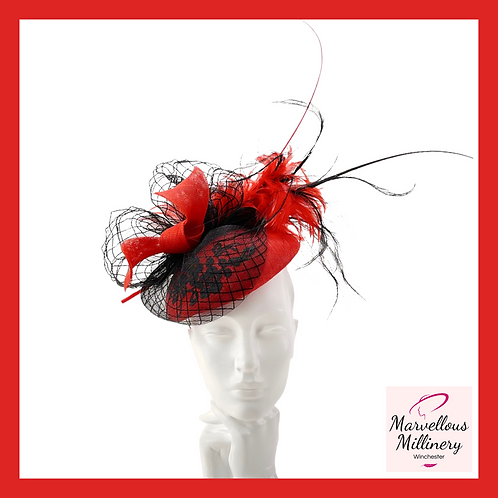 Extravagant Red and Black Pillbox Hat
