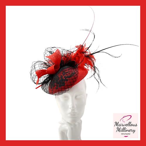 Extravagant Red and Black Pillbox Hat