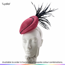 Lydia.  Striking petite perching peardrop shaped hat featuring a line of crystal beads and a fan of bobbing biot feathers.  Available to order in thousands of colour combinations to match your outfit perfectly.  Handmade by Marvellous Millinery, Winchester, Hampshire UK.  Bespoke ladies wedding hats for Mother of the Bride, Mother of the Groom, Top Table Wedding Guests, Ladies Day at Royal Ascot, Glorious Goodwood, Garden Parties at Buckingham Palace and Royal Investitures.