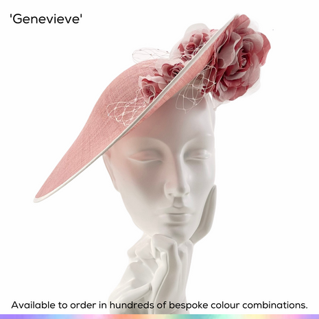 Genevieve.  Mid-sized saucer slice hat with a very flattering shape.  Featuring a spray of English garden roses split over both sides of the brim and highlighted with spriggs of crystal-set birdcage veiling.  Available to order in thousands of colour combinations to match your outfit perfectly.  Handmade by Marvellous Millinery, Winchester, Hampshire UK.  Bespoke ladies wedding hats for Mother of the Bride, Mother of the Groom, Top Table Wedding Guests, Ladies Day at Royal Ascot, Glorious Goodwood, Garden Parties at Buckingham Palace and Royal Investitures.