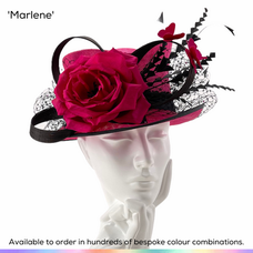 Marlene.  A twisted topper style ladies occasionwear hat featuing a beautiful English Tea Rose and a delicate bow in silk abaca.  Surrounded by a swathe of crystal set birdcage veiling and bobbing trimmed feathers - a pair of silk butterflies finish this design off perfectly.  Available to order in thousands of colour combinations to match your outfit perfectly.  Handmade by Marvellous Millinery, Winchester, Hampshire UK.  Bespoke ladies wedding hats for Mother of the Bride, Mother of the Groom, Top Table Wedding Guests, Ladies Day at Royal Ascot, Glorious Goodwood, Garden Parties at Buckingham Palace and Royal Investitures.