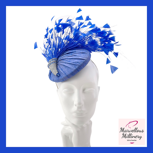 Royal Blue Silk Feathered Cocktail Hat