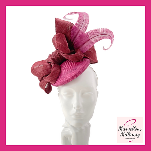 Magenta and Claret 'Big Bow' Cocktail Hat