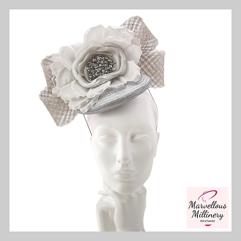 Silver and Pewter Grey Perching Pillbox Hat