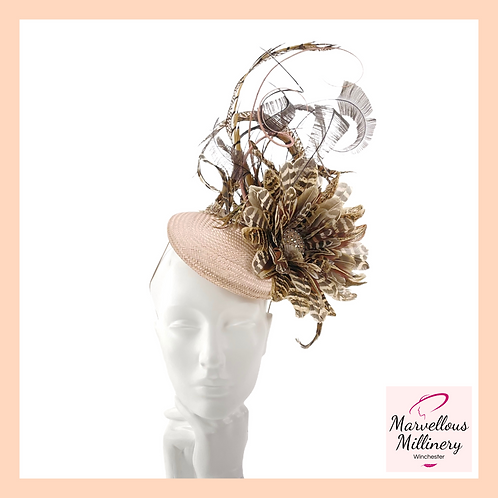 Nude Caramel and Natural Feathers Pillbox Cocktail Hat