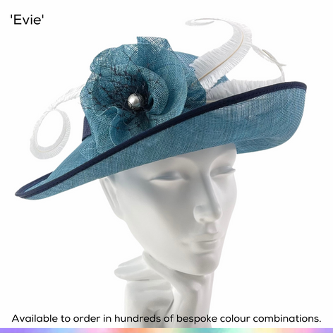 Evie.  Classic vintage style shaped Bretton mid-brimmed ladies hat featuring a charming rosette and trimmed curled ostrich feathers.  Available to order in thousands of colour combinations to match your outfit perfectly.  Handmade by Marvellous Millinery, Winchester, Hampshire UK.  Bespoke ladies wedding hats for Mother of the Bride, Mother of the Groom, Top Table Wedding Guests, Ladies Day at Royal Ascot, Glorious Goodwood, Garden Parties at Buckingham Palace and Royal Investitures.