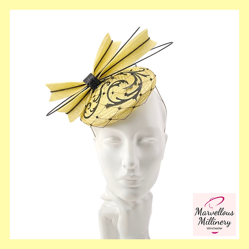 Lemon Yellow and Black Cocktail Hat