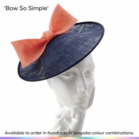 Bow So Simple.  An understated flattering saucer style headpiece, featuing a contrast hand-knotted softly flared bow.  Available to order in thousands of colour combinations to match your outfit perfectly.  Handmade by Marvellous Millinery, Winchester, Hampshire UK.  Bespoke ladies wedding hats for Mother of the Bride, Mother of the Groom, Top Table Wedding Guests, Ladies Day at Royal Ascot, Glorious Goodwood, Garden Parties at Buckingham Palace and Royal Investitures.