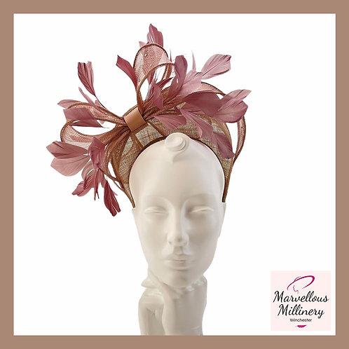Warm Mushroomy/Taupe Feather Halo Headband