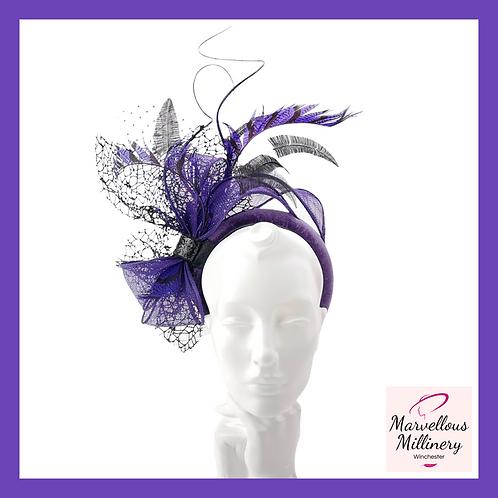 Dramatic Purple and Black Feathered Headband