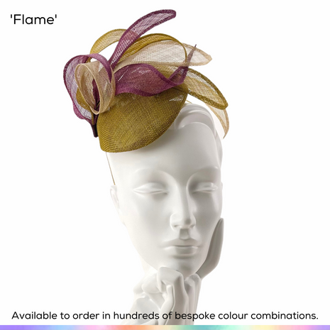 Flame.  Mini perching peardrop shaped base featuring a flurring of stiwsted spiraling curls.  Available to order in thousands of colour combinations to match your outfit perfectly.  Handmade by Marvellous Millinery, Winchester, Hampshire UK.  Bespoke ladies wedding hats for Mother of the Bride, Mother of the Groom, Top Table Wedding Guests, Ladies Day at Royal Ascot, Glorious Goodwood, Garden Parties at Buckingham Palace and Royal Investitures.