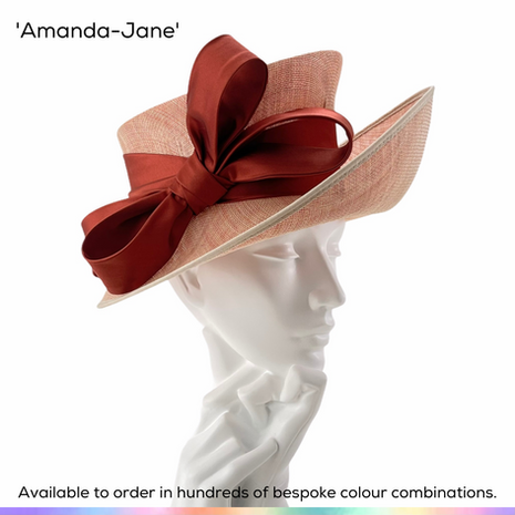 Amanda-Jane.  A stylish Picture style ladies occasionwear hat, featuring an angled crown, dramatically sweeping brim and trimmed with a handmade satin double bow.  Available to order in thousands of colour combinations to match your outfit perfectly.  Handmade by Marvellous Millinery, Winchester, Hampshire UK.  Bespoke ladies wedding hats for Mother of the Bride, Mother of the Groom, Top Table Wedding Guests, Ladies Day at Royal Ascot, Glorious Goodwood, Garden Parties at Buckingham Palace and Royal Investitures.