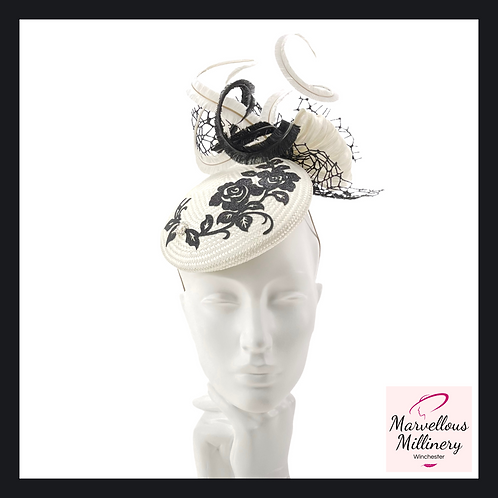Ivory and Shimmering Black Pillbox Cocktail Hat