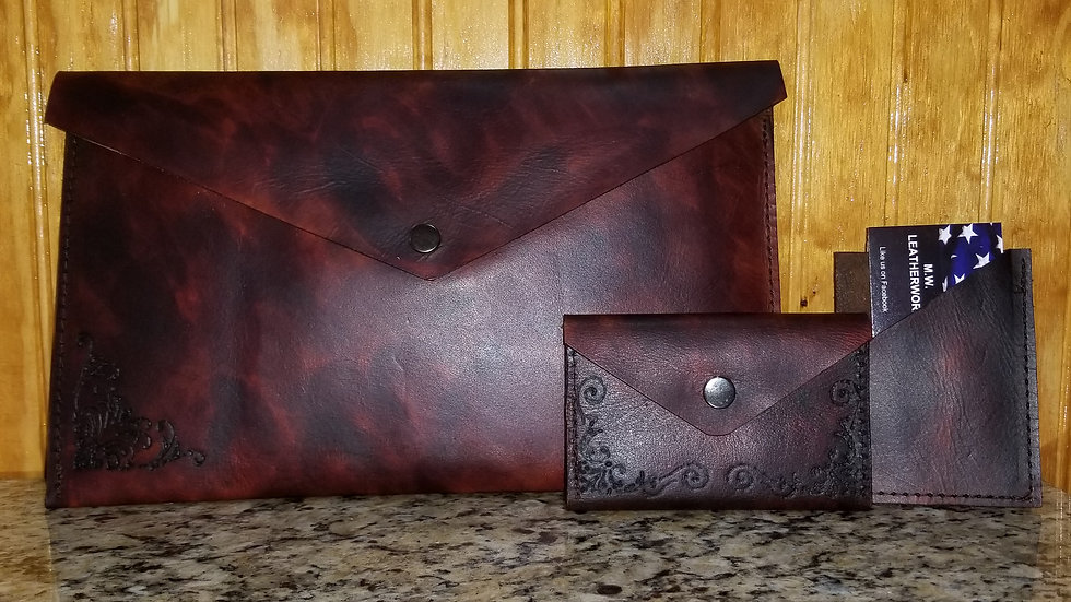 Envelope clutch and wallet set